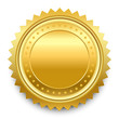 Vector design element. Round golden medal with pattern from star - 68111564