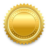 Vector design element. Round golden medal with pattern from star