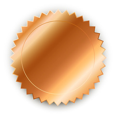 Vector design element. Round bronze medal with shadow.