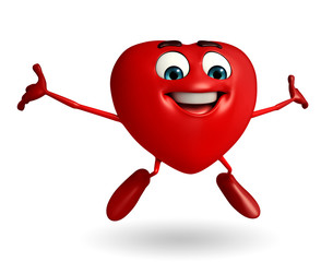 Heart Shape character with happy pose