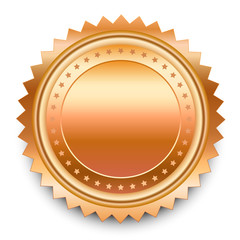 Vector design element. Round bronze medal with pattern from star