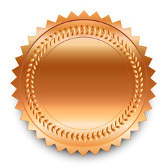 Vector design element. Round bronze medal with pattern and shado