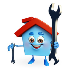 House character with wrench