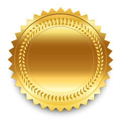 Vector design element. Round golden medal with pattern and shado