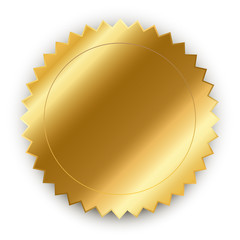 Vector design element. Round golden medal with shadow.
