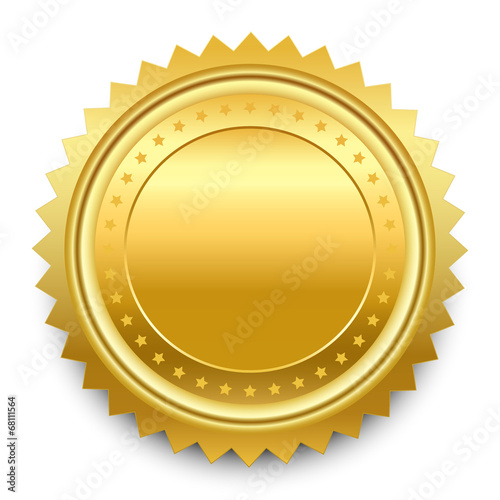 Fototapeta Vector design element. Round golden medal with pattern from star