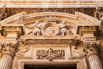 decoration above entrance in baroque style
