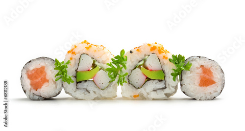 salmon sushi maki and california rolls