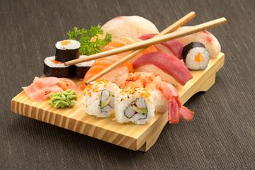 japanese sushi with bamboo chopsticks