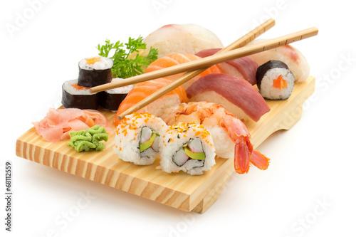 Foto op Canvas Vis japanese sushi plate