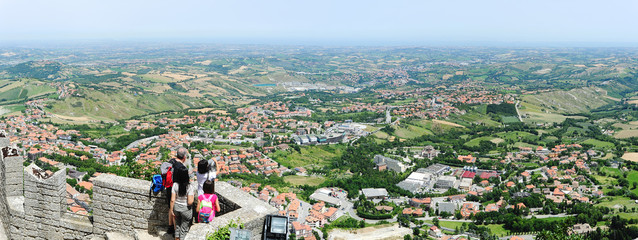 Tourists enjoying the view from La Rocca fortless on Borgo Maggi