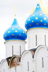 Blue church domes with stars. Trinity Sergius Lavra