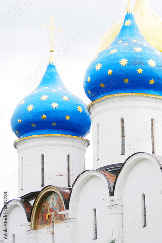 Blue church domes with stars. Trinity Sergius Lavra