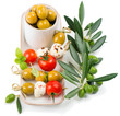 cheese with olives and tomatoes