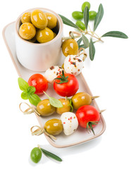 mozzarella with cherry tomatoes and olives