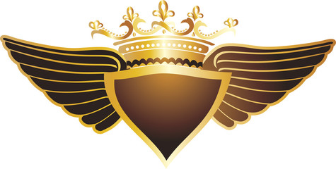 Shield and crown,wings