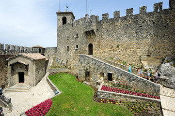 Tourists visiting La Rocca fortless on Borgo Maggiore, San Marin