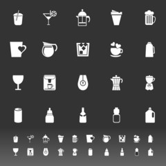 Variety drink icons on gray background