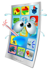Broken phone virus cartoon