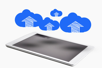 Digital tablet with cloud computing concept above