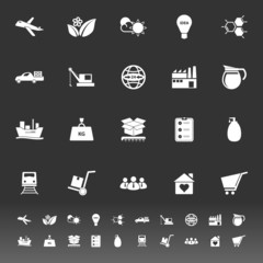 Supply chain and logistic icons on gray background