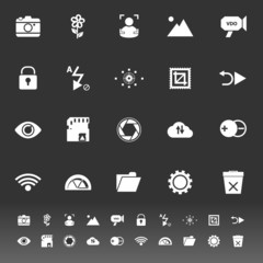 Photography sign icons on gray background