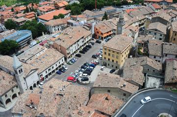Piazza grande and church of the Suffrage on Borgo Maggiore