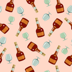 seamless pattern bottles сognac and  glasses