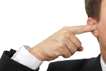 businessman blocking his ears with fingers . ..deaf manager conc