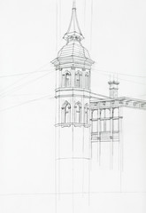 architectural drawing of tower building