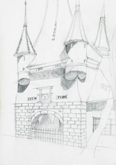 architectural sketch of medieval building