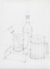 still life with glass objects, sketch