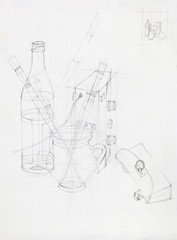 composition with different objects, sketch