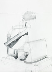 sketch of composition with objects