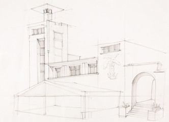 holiday building, architectural sketch