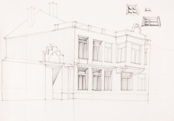 drawing of old house facade
