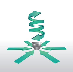 Clean energy light bulb arrow graphic