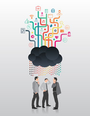 Businessmen standing under app cloud