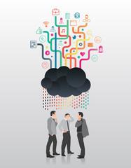 Businessmen standing under app cloud
