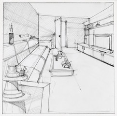 drawing of interior living room