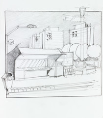 bus stop and kiosk, sketch