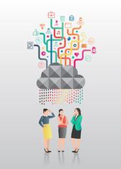 Businesswomen standing under app cloud