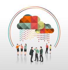 Business people standing under app cloud