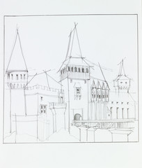 the medieval castle in Hunedoara, Romania