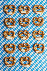 Oktoberfest: Pretzels on bavarian tablecloth