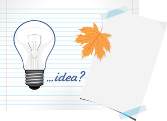 Light bulb drawn on a paper sheet. Education concept