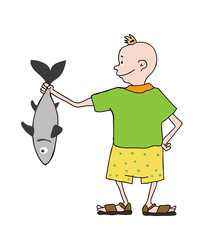 boy in shorts with fish, vector
