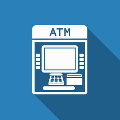 atm icon with long shadow