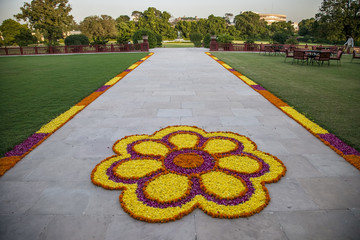 flower decorations on the road in india