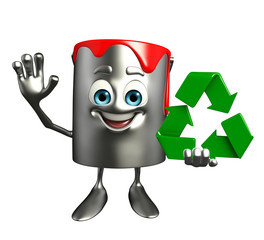 Paint Bucket Character with recycle sign